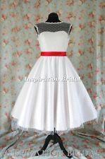 1364 polka dot short 50s 60s inspired wedding dresses short candy petticoat sash