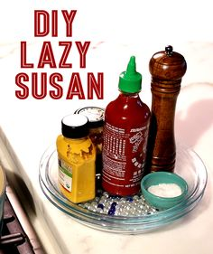 Make your own lazy Susan with pie dishes and marbles.
