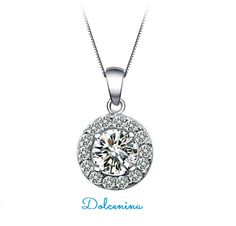 Classy and elegant is how you will feel by wearing this stunning round diamond like pendant in CZ. Box Chain is included. Lead/Nickel free. http://dolcenina.com/en/pendants/598-platinum-plated-classic-round-cz-frame-pendant.html