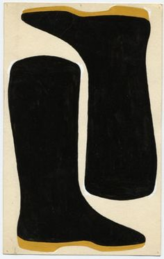 1960 | Jo Baer | Bootless Boots | Gouache on Paper Source: Jo Baer