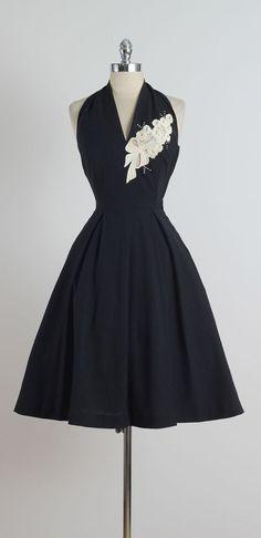 1950s Reich Originals Black Halter Dress