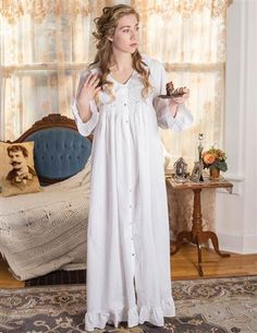 French Knotted Roses Smocked Nightie from Victorian Trading Co. Pyjamas, Cotton Nighties, Victorian Trading Company, Nightgowns For Women, French Knots, Victorian Fashion, Victorian Era, Night Gown, Night Suit