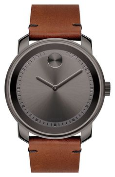 Movado Bold Brown Leather Strap Gray Face Watch, 42mm