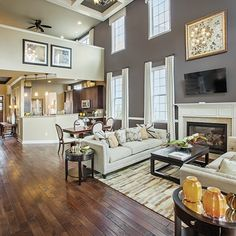 Two-story family room that is ideal for social gatherings