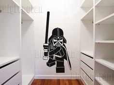 Lego Star Wars Darth Vader vinyl wall decal @etsy by BigLegoFan $34.99 (several options..pirate, batman)