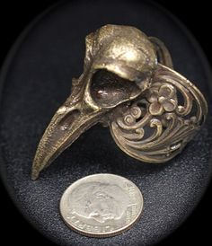 Raven Skull Ring sizes 4 to 11 Antique Bronze by billyblue22, $38.00