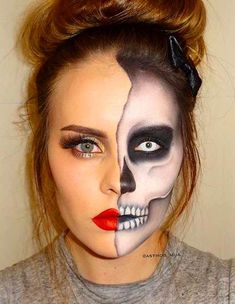 Looking for for inspiration for your Halloween make-up? Navigate here for cute Halloween makeup looks. Half Skeleton Face, Half Skeleton Makeup, Halloween Skeleton Makeup, Halloween Makeup Looks, Halloween Skeletons, Scary Halloween, Skeleton Makeup Tutorial, Half Skull Makeup, Skeleton Face Paint