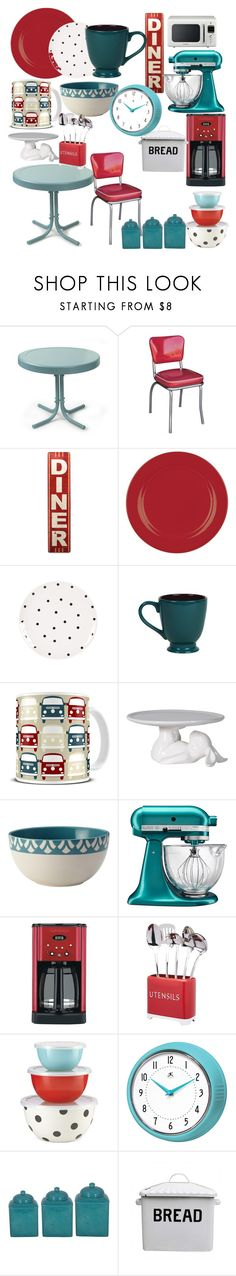"""red and turquoise kitchen"" by jessi-ryan ❤ liked on Polyvore featuring interior, interiors, interior design, home, home decor, interior decorating, Crosley Radio & Furniture, Richardson Seating, Waechtersbach and Fitz & Floyd"