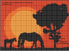 Cross-stitch Mare & Foal at sunset ... no color chart available, just use pattern chart as your color guide.. or choose your own colors...
