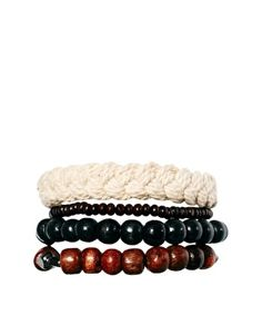 Image 1 of ASOS Rope and Wood Bracelet Pack