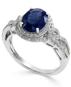 Royale Bleu by Effy Sapphire (1-9/10 ct. t.w.) and Diamond (1/3 ct. t.w.) Oval Ring in 14k White Gold - Blue