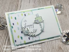 Happiest of Days stamp set.  Paper - Naturally Eclectic DSP, Whisper White & Soft Sky.  Ink - Lemon Lime Twist & Soft Sky.