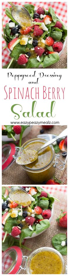 My FAVORITE salad and dressing. A delicious mustard poppyseed dressing, made easily in the food processor and beautifully paired with a summer-y spinach berry salad.