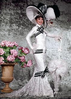 Eliza Doolittle (Audrey Hepburn) 'My Fair Lady' 1964. The 'Ascot' costume, designed by Cecil Beaton.