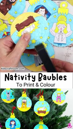 Celebrate the nativity story with this lovely set of Printable Christmas Nativity Baubles To Colour In. With ten different designs this is a lovely religious Christmas craft for kids of all ages. #kidscraftroom #kidscrafts #christmascrafts #baubles #nativity #sundayschoolcrafts #sundayschool #christmasornaments