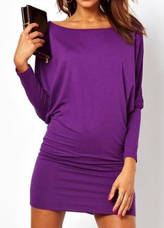Simple Design Scoop Neck Batwing Sleeve Solid Color Dress For Women, PURPLE, M in Dresses 2014 | DressLily.com