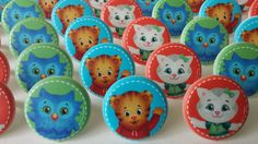 24 PBS Kids Daniel Tiger's Neighborhood Mr. Rogers rings for cupcake toppers cake birthday preschool favors Katerina Kittycat O Owl Tiger by AisforApronStrings on Etsy https://www.etsy.com/listing/230077477/24-pbs-kids-daniel-tigers-neighborhood