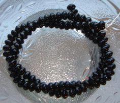 Full Strand Black Onyx 6X3mm Tapered Smooth Rondelle Gemstone Beads