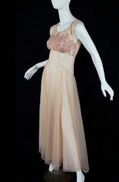 Vintage sheer champagne & mauve lace peignoir - really interesting piece work on the skirt adds life to this classic style