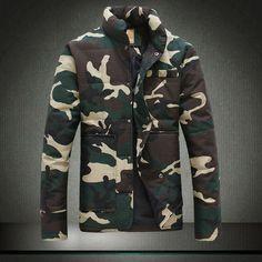 envío gratuito de los hombres de doble lado espesar el desgaste de invierno al aire libre cazadora de camuflaje de los hombres chaqueta de algodón capa de deporte