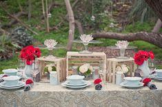 poppy red tiffany blue rustic wedding table decorations