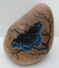 Hand painted rock-art-paintings Butterfly-Martha Winenger