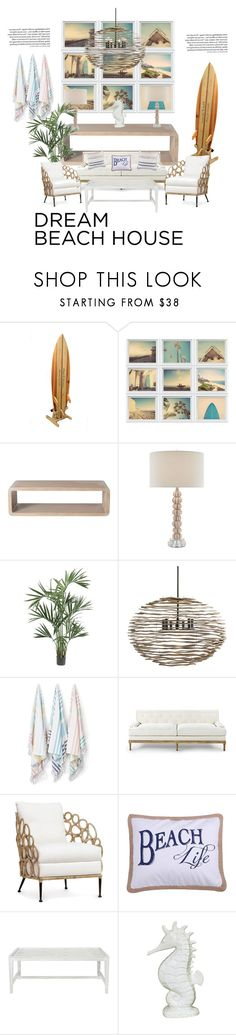 """Dream beach house"" by glennaprior ❤ liked on Polyvore featuring interior, interiors, interior design, home, home decor, interior decorating, McGuire, Nearly Natural, Arteriors and Kassatex"