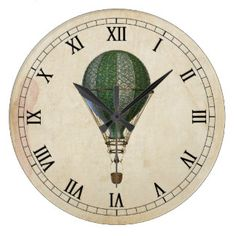 Steampunk Hot Air Balloon Wall Clock