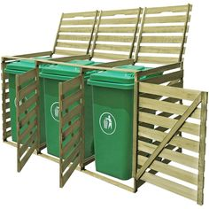 Wooden Impregnated Triple Wheelie Storage Rubbish Bin Shed Garden Outdoor Patio