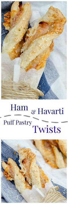 Ham and Havarti Twists, delicious baked black forest ham, havarti cheese, puff pastry, and a blend of seasonings which will have you looking forward to lunchtime!