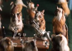 Detail from Walter Potter's 'The Guinea Pig's Cricket match', late 19th century. Morbid taxidermy tableaux.