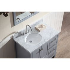 Ariel Bath A037S-L-WHT Cambridge White Single Basin Bathroom Vanity Sets  eFaucets.com