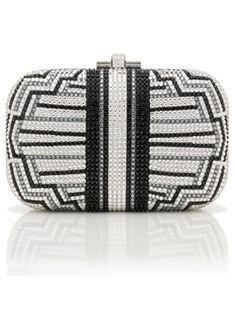 Judith-Leiber~ Perfect jeweled clutchin a chic geometric pattern