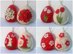Feltro della decorazione di Pasqua - uovo con coniglietto e farfalle o fiori / set di 2 o 8 È la lista per un insieme di 2 o 8 ornamenti (diverse opzioni) Dimensione del mio uova decorate è di circa 2 1/8 x 2 5/8 di pollice (5,3 x 6,5 cm) Si tratta di dimensioni di feltro uovo senza