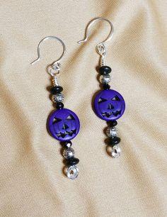 Purple Jack-o-Lantern Earrings by 1SwankyZebra on Etsy