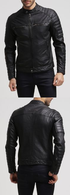 Men Coats And Jackets: New Mens Genuine Lambskin Leather Jacket Black Slim Fit Biker Motorcycle Jacket BUY IT NOW ONLY: $90.0