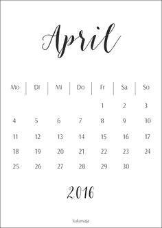 kukuwaja #freebie #download #april2016 #calendar #kalender