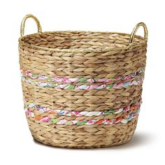 Woven Basket With Fabric and Gold Rim ($35)