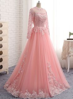 A-Line Pink Tulle Lace Appliques Long Sleeve Prom Dress, Shop plus-sized prom dresses for curvy figures and plus-size party dresses. Ball gowns for prom in plus sizes and short plus-sized prom dresses for Prom Dresses Long With Sleeves, A Line Prom Dresses, Party Wear Dresses, Cheap Prom Dresses, Trendy Dresses, Nice Dresses, Evening Dresses, Fashion Dresses, Formal Dresses