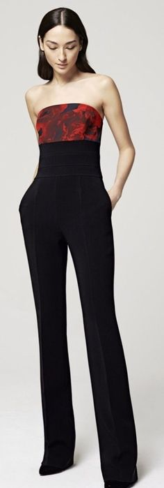 Women's fashion | Floral top black jumpsuit Escada Resort 2016