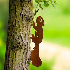 Wenko Garten Dekostecker Eichhörnchen Und Specht, 2er Set, Mit Rostpatina