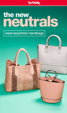 Swap out your brown, black, and white—there's a new neutral in town. Blush-hued, taupe, and gray handbags are versatile, feminine, and fun. Store all of your essentials in an oversized carryall or opt for a trendy bucket tote for a night out. Find more summer handbags at your local T.J.Maxx and tjmaxx.com.