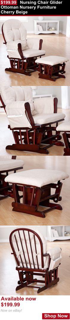 Nursery Furniture Sets: Nursing Chair Glider Ottoman Nursery Furniture Cherry Beige BUY IT NOW ONLY: $199.99