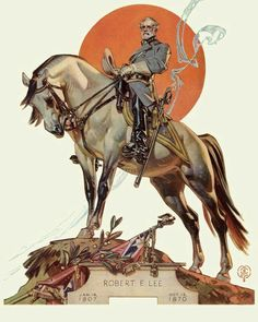 One of our fondest legends, General Robert E. Lee and his faithful horse, Traveller, by Norman Rockwell American Illustration, Art And Illustration, Jc Leyendecker, Norman Rockwell Art, Graphisches Design, Art Graphique, Equine Art, Horse Art, Man Horse