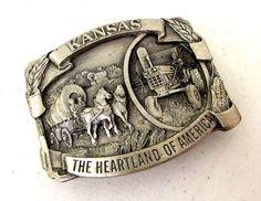 Vintage Kansas The Heartland of America  belt buckle