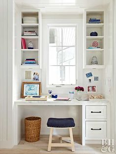 Built-in desks can be expensive, yet the expense might be well worth it considering the heavy use such a unit can withstand as your child grows. Closed drawers provide space to store items that tend to clutter the desktop, such as paper and pencils. A tall bookcase showcases books and stuffed animals now but can be used to display collectibles later on.