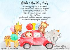 Safari Animals Drive by Birthday Party Invitations social distancing