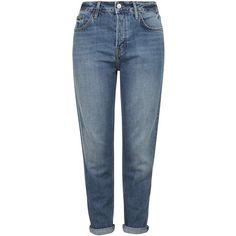TOPSHOP MOTO Dirty Vintage Hayden Boyfriend Jeans found on Polyvore featuring jeans, pants, bottoms, pantalon, trousers, blue, boyfriend fit jeans, boyfriend jeans, blue jeans and topshop