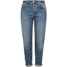 TOPSHOP MOTO Dirty Vintage Hayden Boyfriend Jeans ($63) ❤ liked on Polyvore featuring jeans, pants, bottoms, trousers, blue, boyfriend jeans, button fly jeans, topshop jeans, topshop and blue jeans