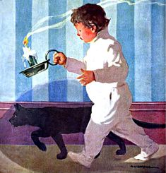 My Puzzles - Children - Vintage - Bedtime for Boy & Cat 1917 Fiat, Painting, Cats, Paintings, Draw, Drawings